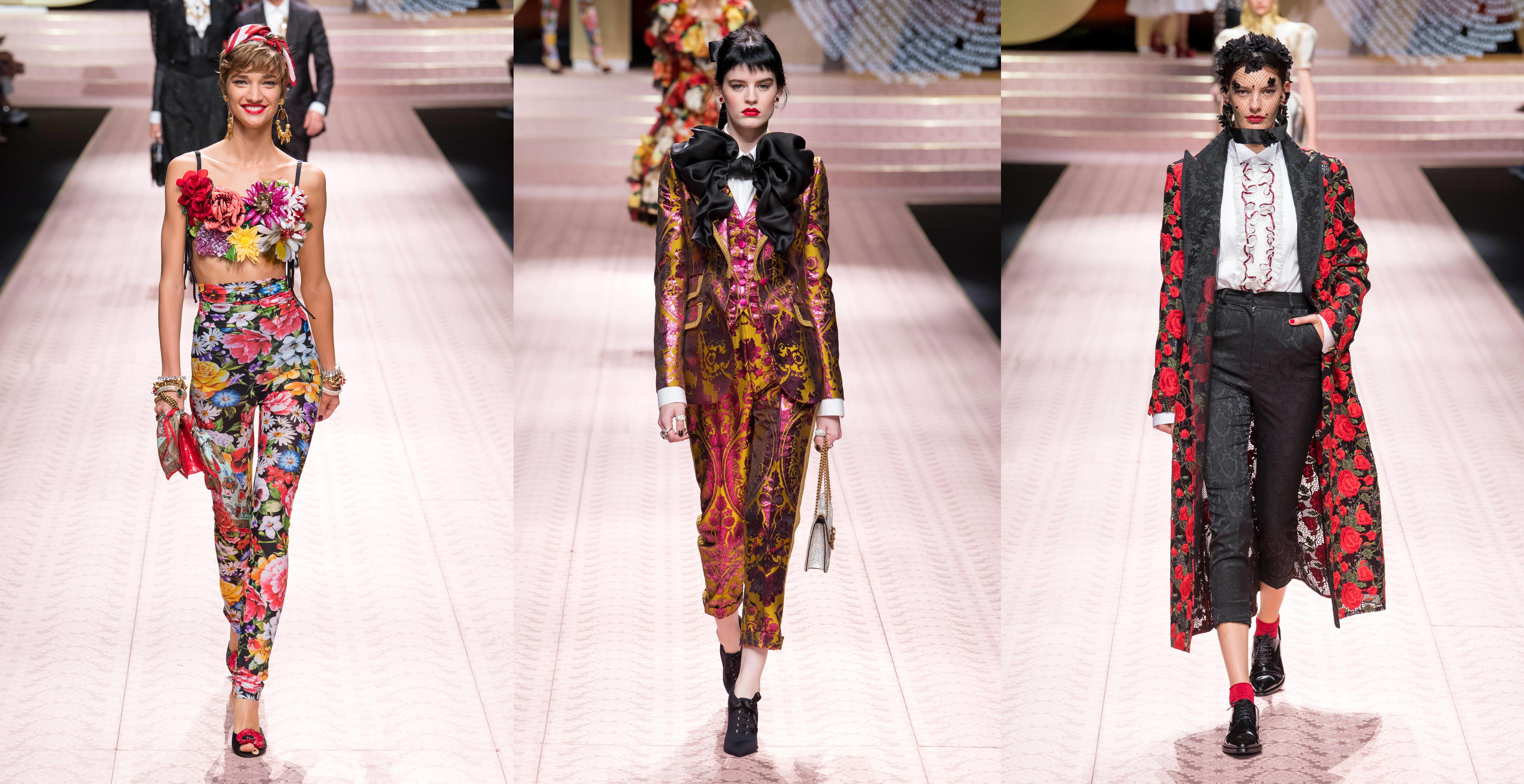 Prekrásnymi nohavicovými ženskými kostýmami s okázalým vzhľadom sa to v novej  kolekcii značky Dolce and Gabbana pre sezónu jar leto 2019 na móle hemžilo. 84a75c93c5b