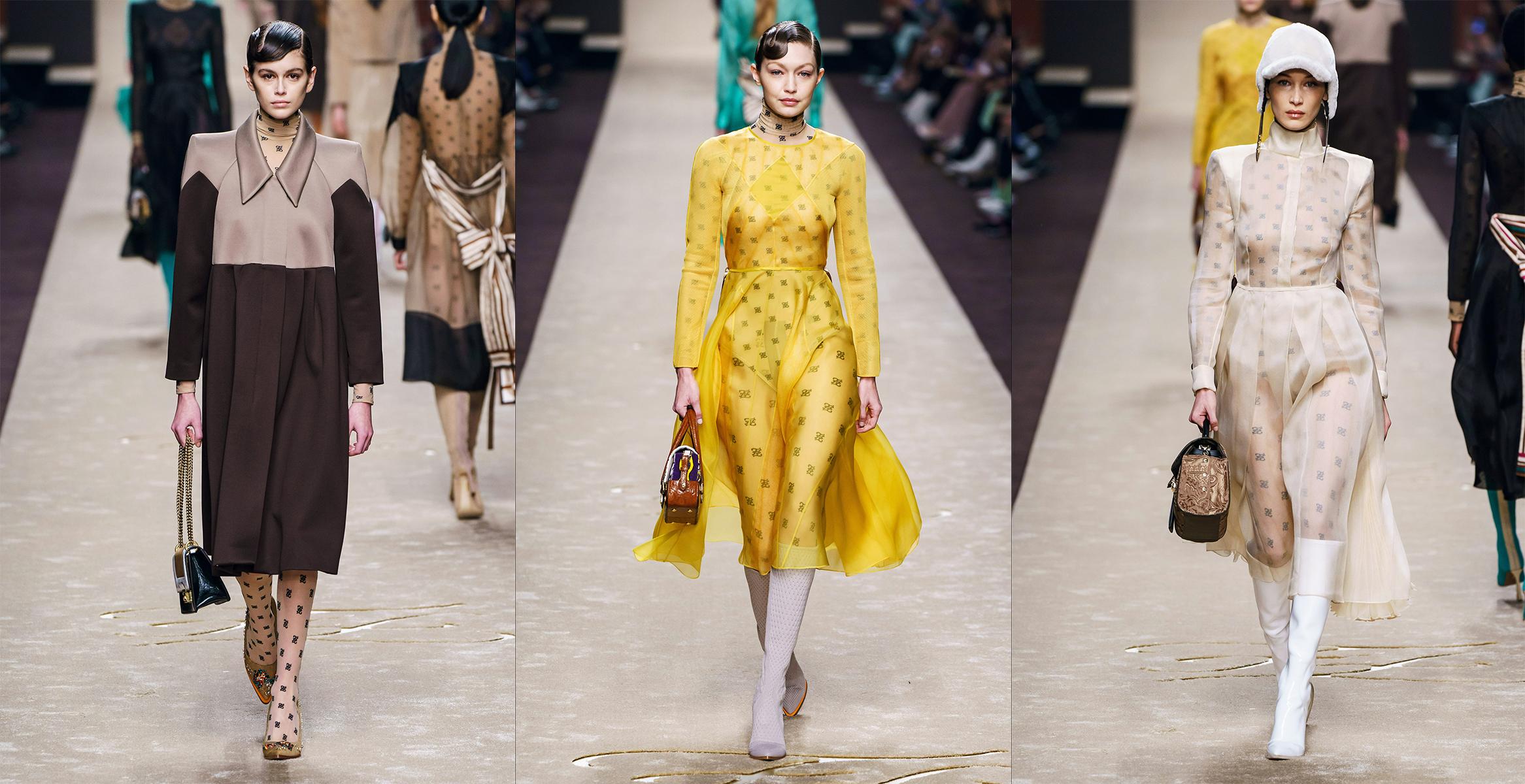 c281aa626 prehliadka kolekcie značky Fendi, Milan Fashion Week, 21. február 2019,  modelky zľava: Kaia Gerber, Bella Hadid, Gigi Hadid, zdroj: Vogue it.  Najnovšia ...