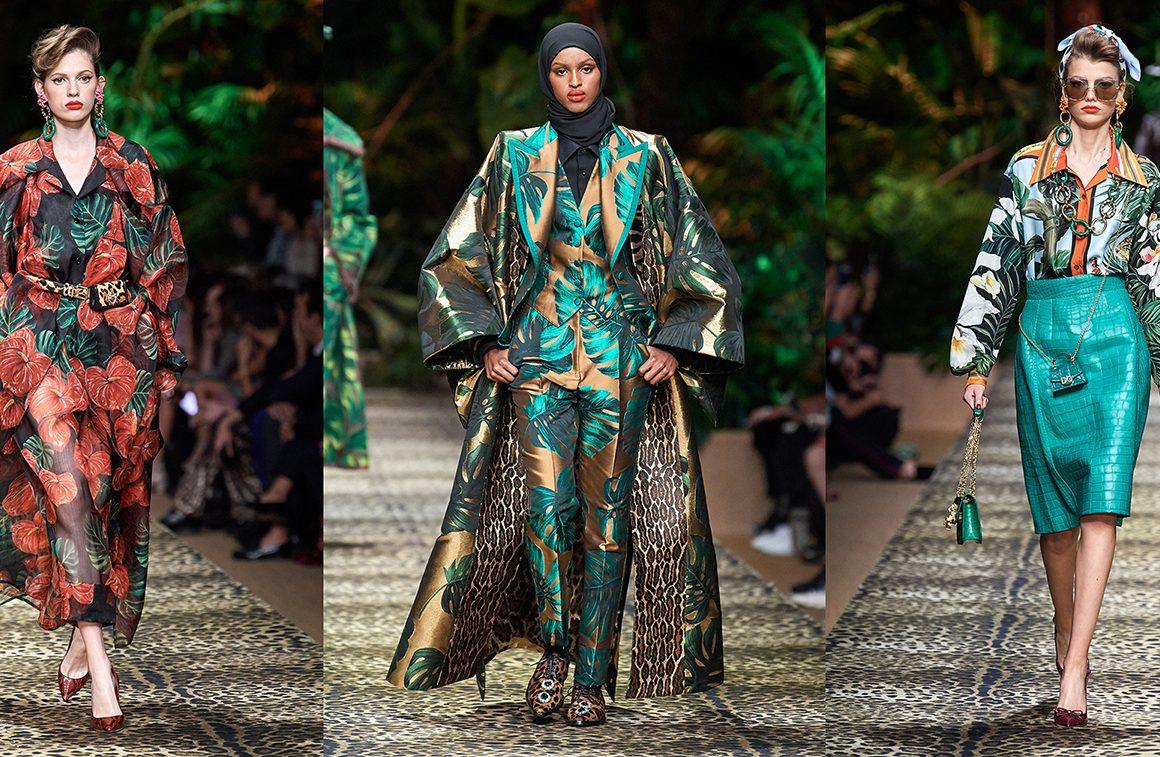 Jarné kolekcie milánskych dizajnérov, Versace , Dolce and Gabbana –  safari štýl, pralesné potlače,  Jar / Leto 2020